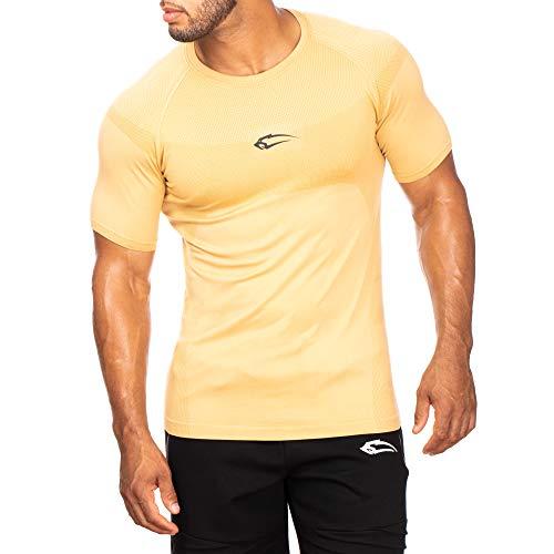 SMILODOX Herren T-Shirt Clearly   Kurzarm   Casual Top   Funktionsshirt für Sport Fitness Gym & Training   Trainingsshirt - Laufshirt - Sportshirt mit Logo, Farbe:Beige, Größe:XL