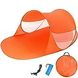 TecTake Tenda popup da Spiaggia Protezione UV Sole Automatica 245x145x95cm - Disponibile in Diversi Colori - (Arancione | No. 401679)