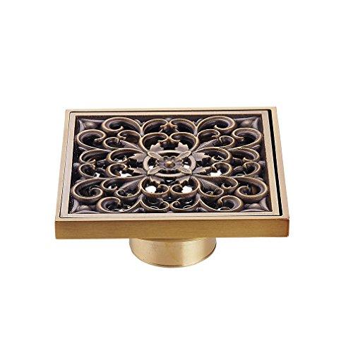 Scarico a pavimento - Auralum® Scarico doccia a pavimento sistema drenaggio in ottone retro fiore (Deodorante Buoni)