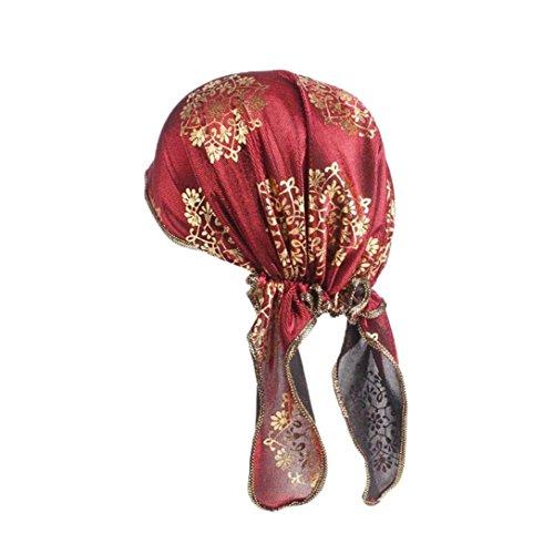 Trada Mütze, Frauen Indien Jahrgang Bronzing Muslim Stretch Retro Turban Hut Kopftuch Wrap Cap Damen Kappe Kopftuch Kopfbedeckung Haarverlust Sommer Elegant Bandana Cap (Rot) Stretch-hut