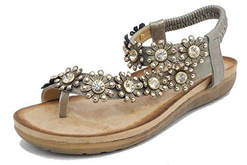 Damen-Sandale mit Strasssteinen, Blumen-Design, mit Zehensteg, silber - zinnfarben - Größe: 40