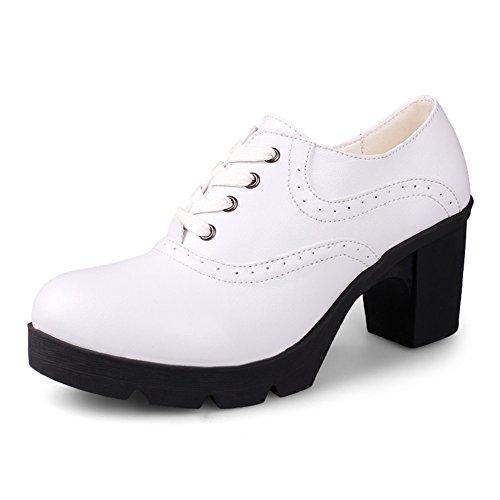 high heels en Angleterre/Chaussures à semelles épaisses/chaussures de confort professionnel/Chunky talons chaussures de Dame avec tête ronde/Les souliers A