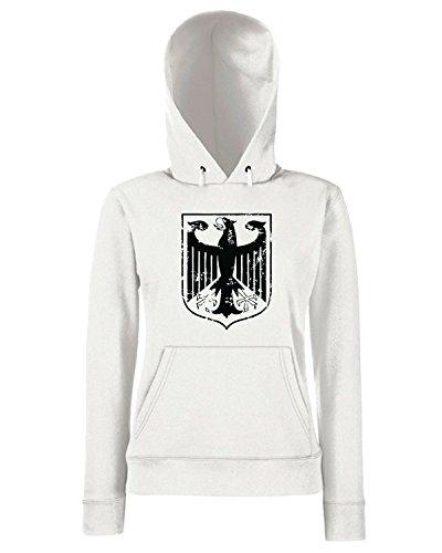 T-Shirtshock - Sweats a capuche Femme WC0368 GERMANY T-SHIRT - BUNDESADLER RETRO GREEN Blanc
