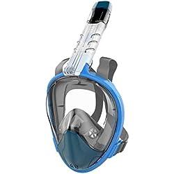 CHMASK Masque De Plongée, Anti-buée Vue À 180° Visage Complet Sec Set De Plongée avec Support De Caméra Ajustable Lunettes De Natation (Couleur : Bleu, Taille : S/M)
