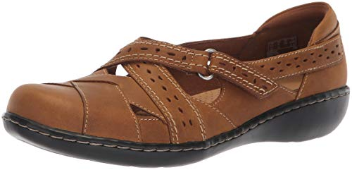 Clarks Leder Mary Janes (Clarks Damen Ashland Spin Q Dark Tan Leather 40 N EU)