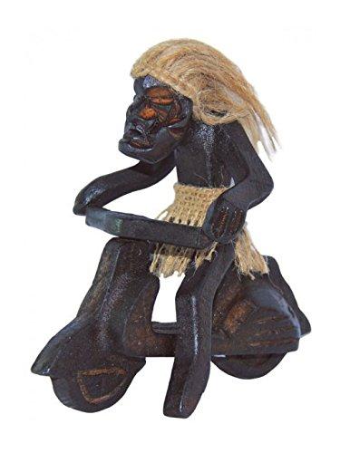 Figuren Afrikanische Frauen (Deko Figur Asmat mit Vespa aus Albesia Holz braun, 15 cm, afrikanische Holzfigur Schutzgeist aus Bali)
