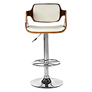 Premier Housewares Bar Stool Walnut and White Leather Effect (89 - 110 x 39 x 46 cm)