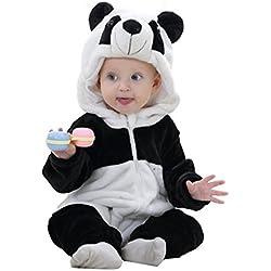MICHLEY Bebé ropa Niños Niñas disfraces primavera Franela Traje animales Pelele xiongmao-70cm