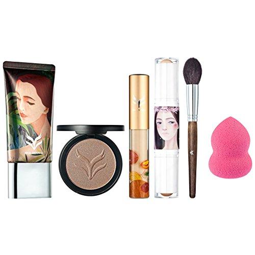 Sharplace 6 en 1 Kit Maquillage Palette Poudre Fond de Teint Bronzé + Crème Fondation de Teint + Correcteur Cache Cernes + Pinceau de Maquillage + Houppe à Poudre + Bâton Highlighter