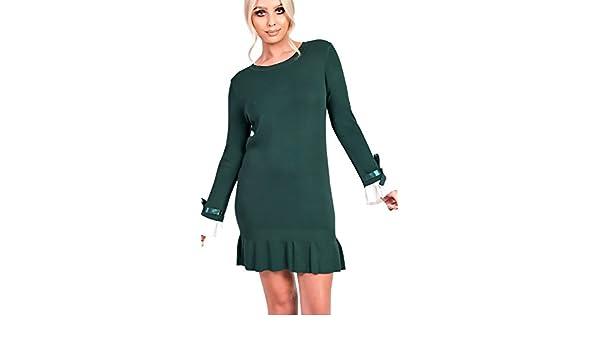 1da9a8a9a0 Ikrush Womens Cecelia Pleated Sleeves Longline Jumper Dress Green   Amazon.co.uk  Clothing
