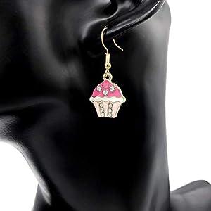 Ohrringe CUPCAKES gold pink weiß hängend süß sweet Zirkonia Mädchen Damen Schmuck Design filigran modern handmade einzigartig Muster Jugendstil