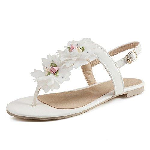 TAOFFEN damen Beilaufig Flip-flops Blume Slingback Yoga Flach Sandalen Weiß