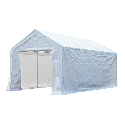 Carpa Pabellón de Jardín para Fiesta o Boda 6x3x2,8m Gazebo Cenador de Acero Galvanizado Pérgola de Color Blanco 2 en 1 Garaje Coche