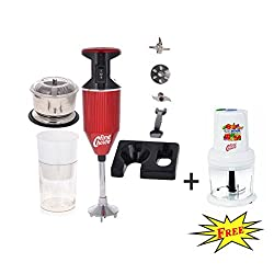FirstChoice 200 Watts Red Combo pack Blender with Attachment Plus 1 Chopper 250 Watts (Free)