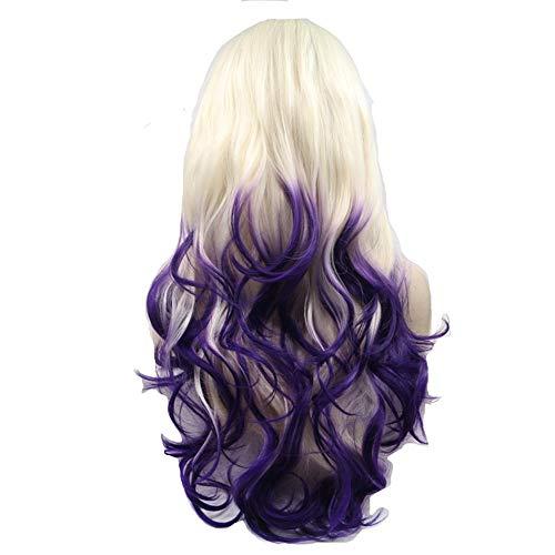 Sexy Lady Wig, Spitze vor menschlichen Haarperücken, Women es Heat Resistant Long Wavy Layered Golden Gradient lila Perücke Rock Musik-Festival, Halloween, Karneval & Daily