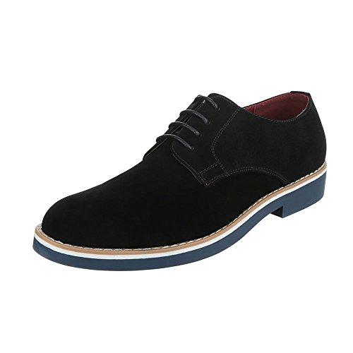 Budapester Stil Herren-Schuhe Oxford Blockabsatz Schnürer Schnürsenkel Ital-Design Business-Schuhe Schwarz, Gr 45, 62029-