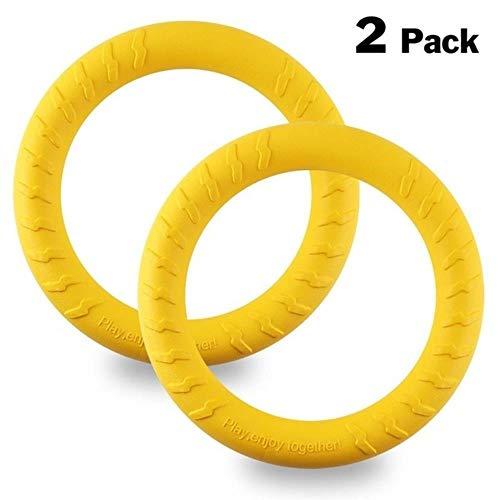 SUXIAO 2 Teile/Paket Hundespielzeug Ring Wasser Schwimm Outdoor Fitness Flying Discs Tauziehen Interaktive Trainingsring Für Hunde, Gelb, 29 cm