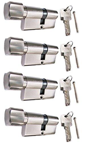 Knaufzylinder in 80 mm (40x40) Schließanlage Gleichschließend 2, 3 oder 4-er Set mit 5 Schlüssel pro Türschloss (4)