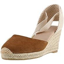 SimpleC Zapatos de Cuña de Tobillo con Tacón de Tobillo Clásico para Mujer, Sandalias de Alpargatas Pompom de Piel de Oveja