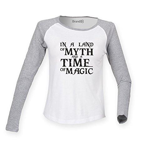 Brand88 - In A Land Of Myth And A Time Of Magic, Damen Langarm Baseball T-Shirt Weiss & Grau