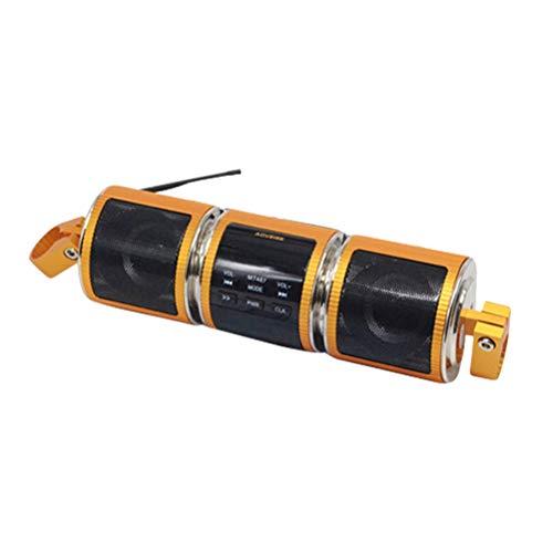 Vosarea Mini-Lautsprecher, tragbar, Bluetooth, kabellos, 12 V, Stereo, wasserfest, FM, AUX in Motorrad, Lautsprecher (gelb)