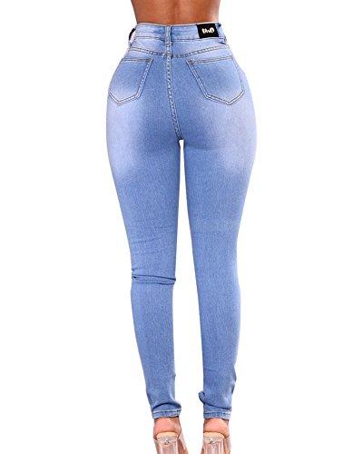 Donna Boyfriend Jeans Leggings Stretch Vita Alta Push Up Skinny Pantaloni Eleganti Slim Pantalone Azzurro