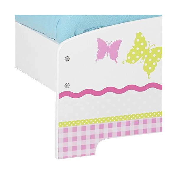 Butterflies and Flowers Patchwork Kids Toddler Bed by HelloHome  Ideal transition from cot to bed - make the move to her first big kids' bed magical with this fun butterflies and flowers design toddler bed from HelloHome Takes cot bed size mattress - 140cm (l) x 70cm (w). Mattress not included. Assembled size (h)59, (w)77, (l)145cm Suitable for 18 months to 5 years this pink toddler bed is perfect for your little toddler 4