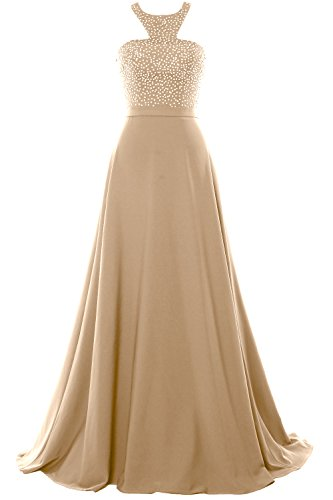 MACloth Halter Beading Chiffon Long Prom Party Dress 2018 Formal Evening Gown Champagne
