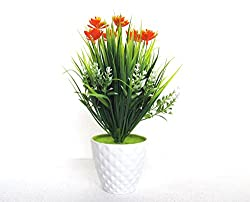 Miracle Retail Bonsai Wild Artificial plant with Pot (Total Height: 26cm, Orange,Green)