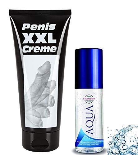 Penis Massage Set Erotische Sex Erotik Massagecreme XXL Peniscreme Ginkgo 80 ml. oder 200 ml. und Aqua Gleitmittel (100ml.) für Penisvergrößerung Penispflege masturbieren Mann (200 ml)