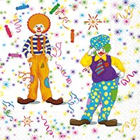 20 Servietten Clowns / Fasching / Karneval -