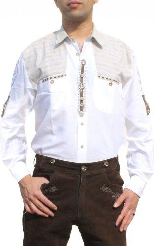 Trachtenhemd für Lederhosen mit Verzierung weiß, Hemdgröße:L