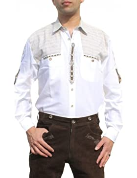 Trachtenhemd für Lederhosen mit Verzierung weiß