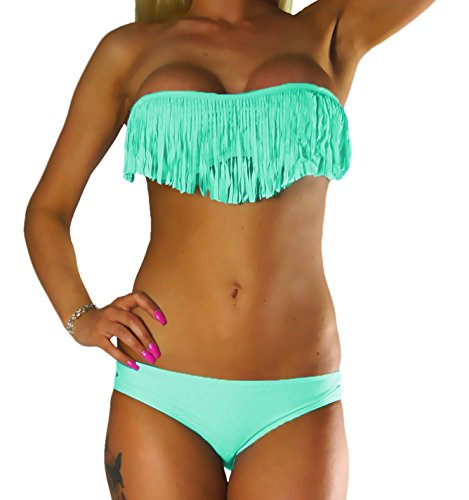 ALZORA Bikini Damen Tassel Fransen Fringe Push Up Set Top und Hose, 10411 (S, Mint)