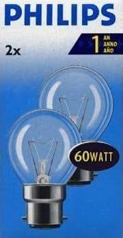 PHILIPS Lot de 2 P45 à 60 ampoules BC B22 Ampoule ronde en forme de balle de Golf à baïonnette, à incandescence, 655 Lumen, 240 V