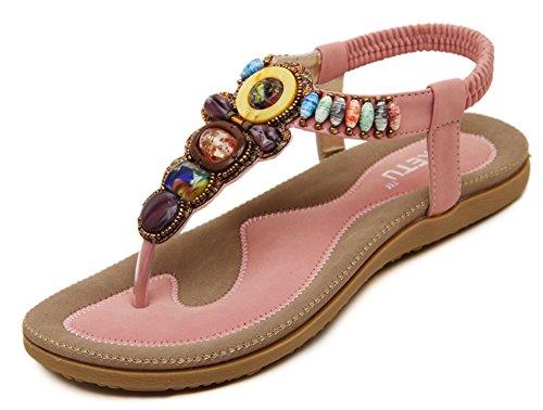 Aisun Damen Perlen Faltbare Gummisohle Flats Übergröße Zehentrenner Pink