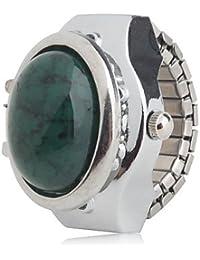 Relojes Hermosos, Analógica de las mujeres de aleación anillo de reloj (de plata) ( Color : Verde )