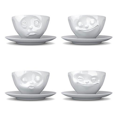 Fiftyeight TV Tassen Kaffeetasse 4er Set, Grinsend, Küssend, Glücklich, Och Bitte, Kaffee Tasse, Cappuccinotasse, mit Untersetzer, aus Porzellan, Weiß, 200ml