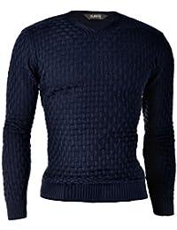 D&R Fashion Hommes Sweatshirt Pull Pull col V panier tricot épais et vêtements chauds pour l'hiver