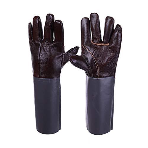 Zfggd Heavy Duty Hitzebeständige & Flammschutzmittel Schweißen & BBQ Handschuhe, Premium Rindsleder, Lange 15 Zoll Unterarmschutz Größe Large