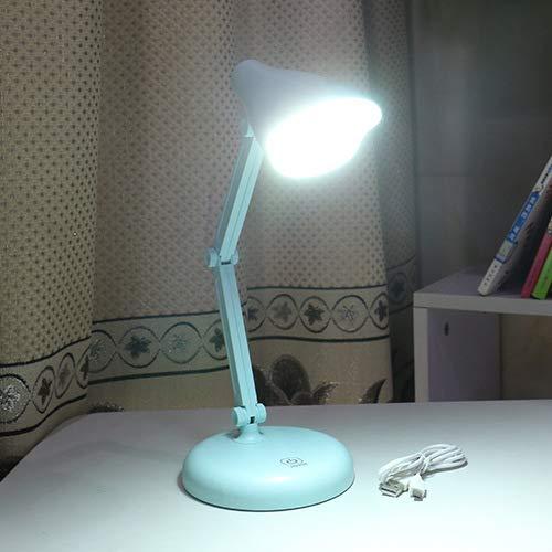 Augenschutz Tischlampe LED wiederaufladbare Tischlampe Studentenwohnheim kreative Folding Touch drei Geschwindigkeit intelligente Dimmen Tischlampe blau lange Lampenkopf 12,5 * 35 * 8,5 - Lichtmaschine Geschwindigkeit