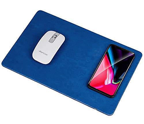LinQ®, caricatore wireless Qi con tappetino da mouse, per iPhone X, iPhone 8/8 Plus, Samsung Note 8, S9, S8, S7, S6/Edge, Nexus 5/6/7 blu Blu