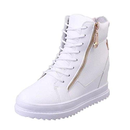 FNKDOR Damen Stiefeletten mit Unsichtbarer Absatz Wedges Increase Höhe Schuhe Keilabsatz Boots(EU:39 (CN:40),Weiß)