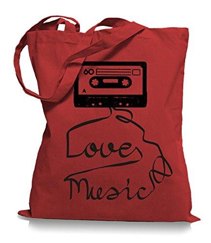 Ma2ca® Loves Music - Jutebeutel Stoffbeutel Tragetasche / Bag WM101 Classic Red