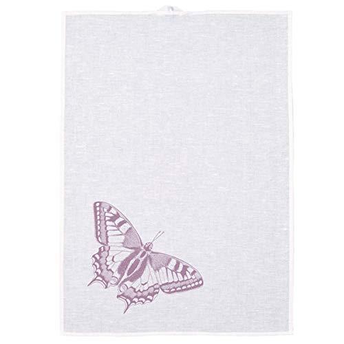 Frohstoff - Geschirrtuch, Küchentuch, Trockentuch - Leinen - Schmetterling - Weiß Lavendel - 50 x 70cm - Lavendel Geschirrtücher