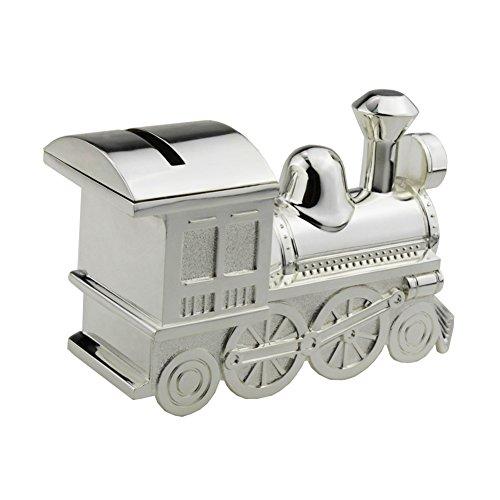 FGF Tirelire en forme Locomotive, Tirelire Train, Décoration Chambre d'Enfant, Coloris Argenté,RKS-CB001