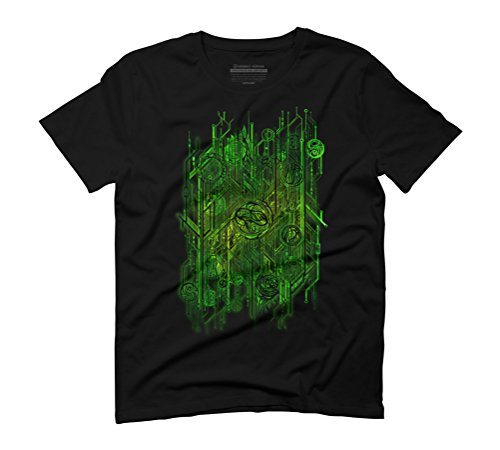 Zen Doodle Digital Circuit Green Men's Graphic T-Shirt - Design By Humans Black