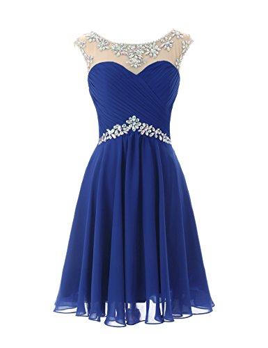 Dresstells A-ligne robe de soirée de cocktail en mousseline courte longueur genou Bleu Saphir