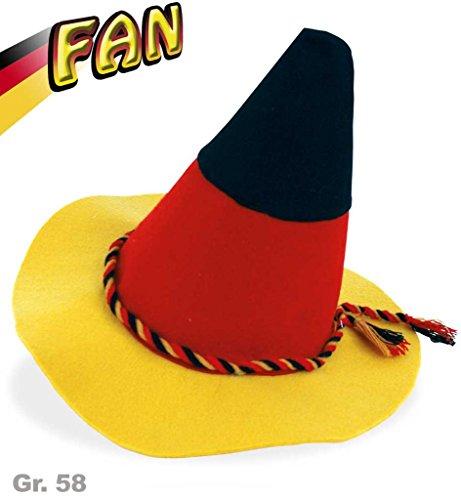 Hut FAN-Seppl, Gr. 58 cm, Deutschland, WM, EM, Fußball, schwarz-rot-gold, Kopfbedeckung (Jack Bauer Kostüme)