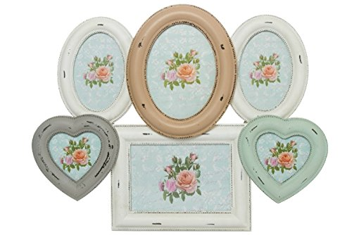 elbmöbel Bilderrahmen Collage Weiß Creme Türkis Mehrfarbig mit Doppel-Herzform aus Holz Antik Vintage Shabby Chic ca 50cm für 6 Fotos (H40 x B49 x T3cm) -